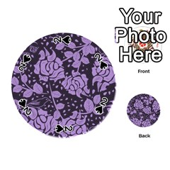 Floral Wallpaper Purple Playing Cards 54 (round)