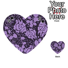 Floral Wallpaper Purple Playing Cards 54 (heart)