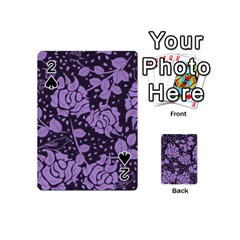 Floral Wallpaper Purple Playing Cards 54 (Mini)
