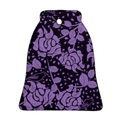 Floral Wallpaper Purple Bell Ornament (2 Sides)