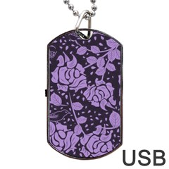 Floral Wallpaper Purple Dog Tag USB Flash (One Side)