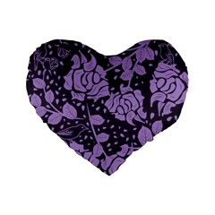 Floral Wallpaper Purple Standard 16  Premium Flano Heart Shape Cushions