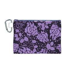 Floral Wallpaper Purple Canvas Cosmetic Bag (m)