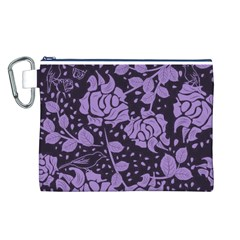 Floral Wallpaper Purple Canvas Cosmetic Bag (L)