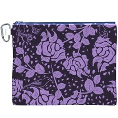 Floral Wallpaper Purple Canvas Cosmetic Bag (XXXL)
