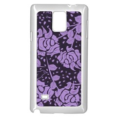 Floral Wallpaper Purple Samsung Galaxy Note 4 Case (White)