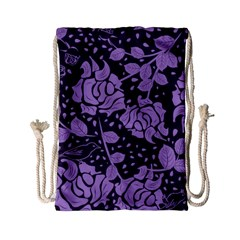 Floral Wallpaper Purple Drawstring Bag (Small)