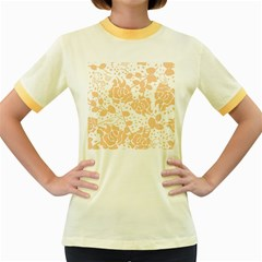 Floral Wallpaper Peach Women s Fitted Ringer T-Shirts