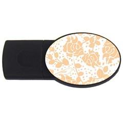 Floral Wallpaper Peach Usb Flash Drive Oval (2 Gb)