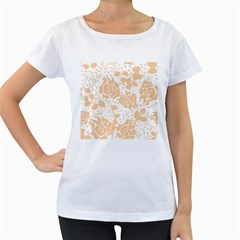 Floral Wallpaper Peach Women s Loose Fit T Shirt (white)