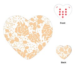 Floral Wallpaper Peach Playing Cards (heart)