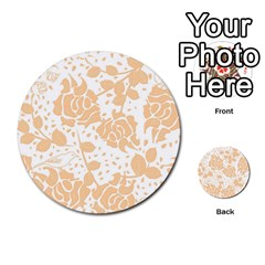 Floral Wallpaper Peach Multi-purpose Cards (Round)