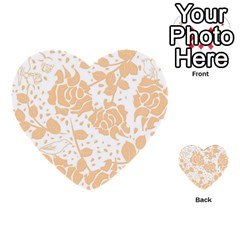 Floral Wallpaper Peach Multi-purpose Cards (Heart)