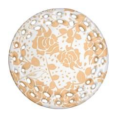 Floral Wallpaper Peach Ornament (Round Filigree)