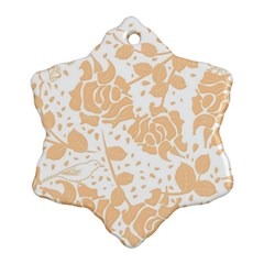 Floral Wallpaper Peach Snowflake Ornament (2 Side)