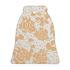 Floral Wallpaper Peach Bell Ornament (2 Sides)
