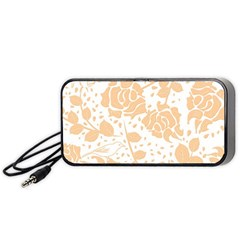 Floral Wallpaper Peach Portable Speaker (Black)
