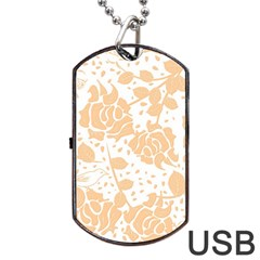 Floral Wallpaper Peach Dog Tag USB Flash (Two Sides)