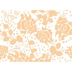 Floral Wallpaper Peach Birthday Cake 3D Greeting Card (7x5)