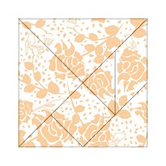Floral Wallpaper Peach Acrylic Tangram Puzzle (6  x 6 )