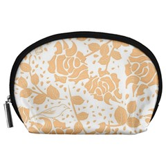 Floral Wallpaper Peach Accessory Pouches (large)