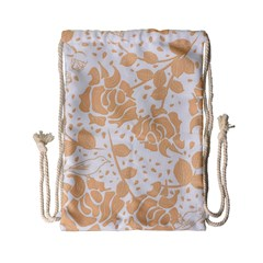 Floral Wallpaper Peach Drawstring Bag (small)