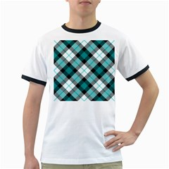 Smart Plaid Teal Ringer T-Shirts