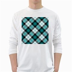Smart Plaid Teal White Long Sleeve T-Shirts