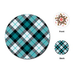 Smart Plaid Teal Playing Cards (Round)