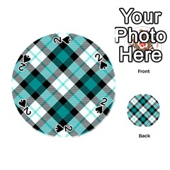 Smart Plaid Teal Playing Cards 54 (round)