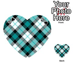 Smart Plaid Teal Playing Cards 54 (Heart)