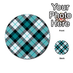 Smart Plaid Teal Multi-purpose Cards (Round)
