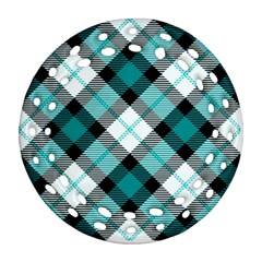 Smart Plaid Teal Ornament (Round Filigree)