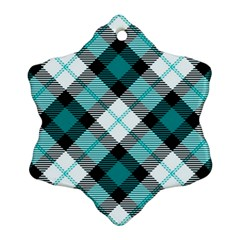 Smart Plaid Teal Snowflake Ornament (2-Side)