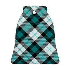 Smart Plaid Teal Bell Ornament (2 Sides)
