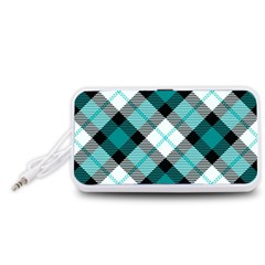 Smart Plaid Teal Portable Speaker (White)