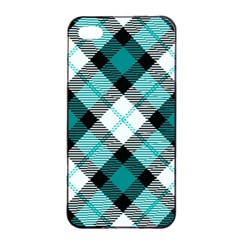 Smart Plaid Teal Apple iPhone 4/4s Seamless Case (Black)