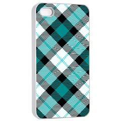 Smart Plaid Teal Apple iPhone 4/4s Seamless Case (White)