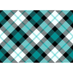 Smart Plaid Teal Birthday Cake 3d Greeting Card (7x5)