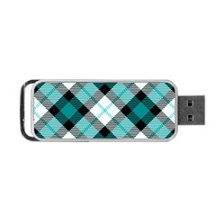 Smart Plaid Teal Portable USB Flash (One Side)