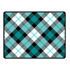 Smart Plaid Teal Double Sided Fleece Blanket (Small)