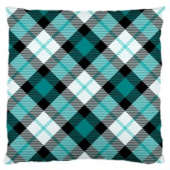 Smart Plaid Teal Large Flano Cushion Cases (One Side)
