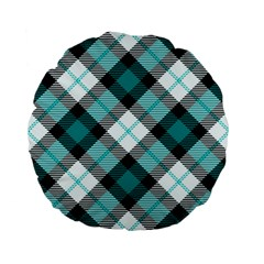 Smart Plaid Teal Standard 15  Premium Flano Round Cushions