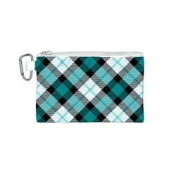 Smart Plaid Teal Canvas Cosmetic Bag (S)