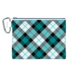 Smart Plaid Teal Canvas Cosmetic Bag (L)
