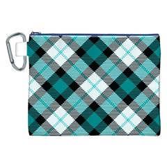 Smart Plaid Teal Canvas Cosmetic Bag (xxl)