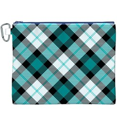 Smart Plaid Teal Canvas Cosmetic Bag (XXXL)