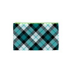 Smart Plaid Teal Cosmetic Bag (XS)