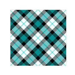 Smart Plaid Teal Small Satin Scarf (Square)