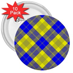 Smart Plaid Blue Yellow 3  Buttons (10 Pack)